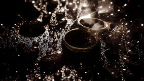 Silver wedding rings between drops. Macro, water object Stock Photography