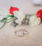 Silver wedding rings lie before boutonnieres Royalty Free Stock Image
