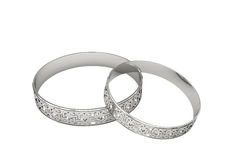 Silver wedding rings with magic tracery Stock Images