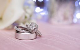 Silver wedding rings Royalty Free Stock Photography