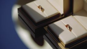 Silver wedding rings in wooden box macro closeup shoot diamond jewellery. Jewellery macro highlight wedding rings couple symbol of happiness stock video