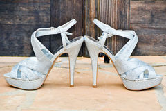 Silver High Heel Shoes Royalty Free Stock Images