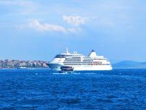 Silver Whisper Luxury Cruise Ship. ISTANBUL, TURKEY -- CIRCA APRIL 2014: Silver Whisper Luxury Cruise Ship in Bosporus Stock Images