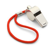 Silver Whistle. Coach Gym Whistle with Red Cord Isolated on White Background Royalty Free Stock Photo