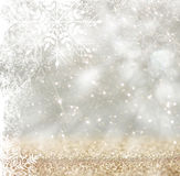 Silver and white bokeh defocused lights with snowflake overlay . abstract background. Royalty Free Stock Photo