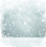 Silver and white bokeh defocused lights with snowflake overlay . abstract background.  stock illustration
