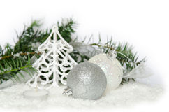 Silver/white christmas decoration Stock Photography
