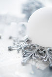 Silver and white christmas decoration on holiday background Royalty Free Stock Photos