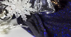 Silver and white Christmas decorations stock image