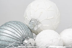 Silver and white christmas ornament decorated balls close up. Silver and white balls, christmas ornament decorated balls on white background stock photos