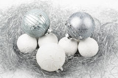 Silver and white christmas ornament decorated balls close up. Silver and white balls, christmas ornament decorated balls on white background stock images