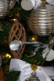 Silver and white Christmas tree decorations Royalty Free Stock Photography