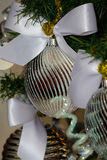 Silver and white Christmas tree decorations. Silver and white Christmas and New Year tree decorations Royalty Free Stock Photography
