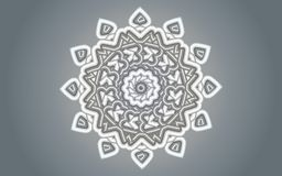 Silver white Floral mandala design over silver grey gradients background. Shining festival luxury pearls like illustration for celebrations, invitations, cards Stock Image
