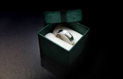 Silver or White Gold Ring. Over black background Stock Photography