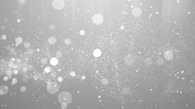 Silver white abstract particle flow award presentation with glitter effect on dark simple elegant fluid background