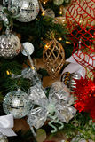 Silver, white and red Christmas tree decorations Royalty Free Stock Image