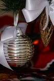 Silver, white and red Christmas tree decorations Royalty Free Stock Images