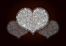 Silver White Shining Glitter Heart. For a Valentine Day. Can be used for Love Letter, Card, Valentines day Celebration, design, etc Royalty Free Stock Photography