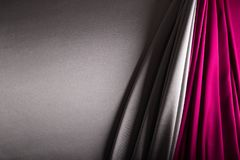 Silver and wine red satin Stock Photo
