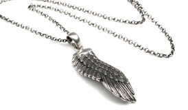 Silver wing pendant Royalty Free Stock Images