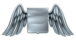 Silver Winged Shield Scroll Design Royalty Free Stock Image