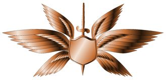 Silver winged shield with sword  Royalty Free Stock Photography