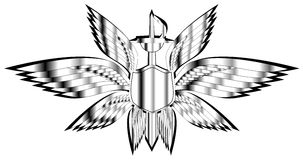 Silver winged shield with swords isolated Royalty Free Stock Images