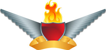 Silver Wings with Shield and Fire. 3D winged element with shield, flame, and banner Royalty Free Stock Images