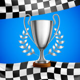 Silver Winner Trophy Realistic Poster. Silver race winner trophy with metal bay laurel wreath branches on checkered flag blue background vector illustration Royalty Free Stock Image