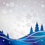 Silver winter abstract background. With blue Christmas tree. Vector snowflakes stock illustration