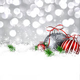 Silver winter background with christmas balls. Silver christmas background with fir branches and balls. Vector illustration royalty free illustration