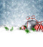 Silver winter background with christmas balls. Royalty Free Stock Photos