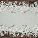 Silver winter background with snowflakes Stock Photo