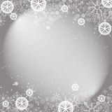 Silver winter Christmas background with snowflakes. Christmas vector background on gray Royalty Free Stock Photos