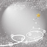 Silver winter Christmas background with snowflakes. Christmas vector background on gray Royalty Free Stock Photography