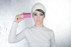 Silver winter woman business pink card Stock Image