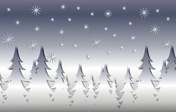 Silver Winter Xmas Tree Scene Stock Images