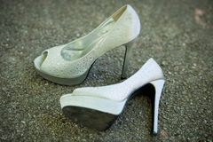 Silver woman shoes with high heels Stock Photography