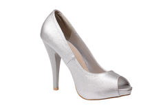 Silver women's heel shoe Stock Photos