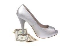 Silver women's heel shoe Royalty Free Stock Image