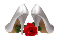 Silver women's heel shoes Royalty Free Stock Image