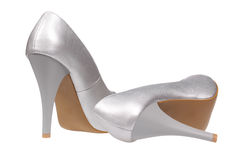 Silver women's heel shoes Stock Photos