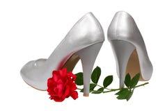 Silver women's heel shoes Stock Photos