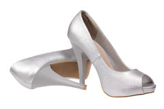 Silver women's heel shoes Royalty Free Stock Photography