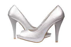 Silver women's heel shoes Stock Photography