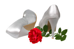 Silver women's heel shoes Royalty Free Stock Photos
