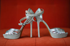Silver Women Shoes Stock Photography