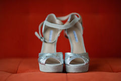 Silver Women Shoes Royalty Free Stock Images