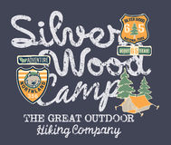 Silver wood camp hiking company. Prints for kids wear with embroidery patches stock illustration